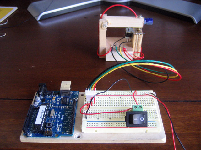 Suicide Clock - Version 1, wired to breadboard